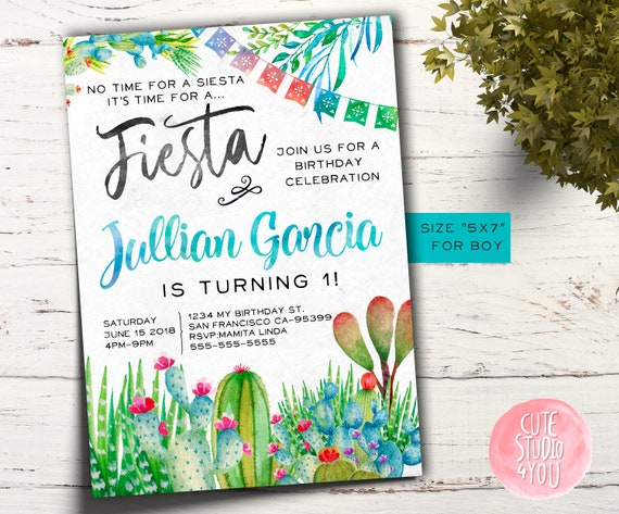 Mexican Birthday Party Invitation Card Fiesta Invite Cactus Party Birthday Printable Invitation