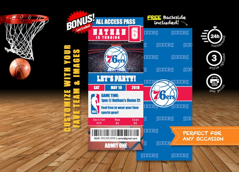 1d73764a0 76ers   Customizable Basketball Party Invitation Tickets