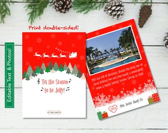 Customizable Santa and Reindeer Holiday Card in 5x7_PRINTABLE PDF