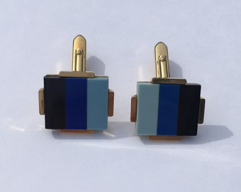 Classic set of blue and black Cufflinks in gold tone setting - Circa 1960s