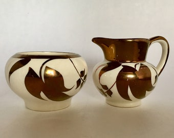 "Lancaster and Sandland Ltd. Hanley England lustre ware ""small"" cream and sugar"