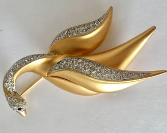 Vintage D'Orlan Flying Swan Brooch