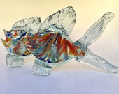 Murano style glass fish with multi-coloured bodies and clear fins - listing is for the pair