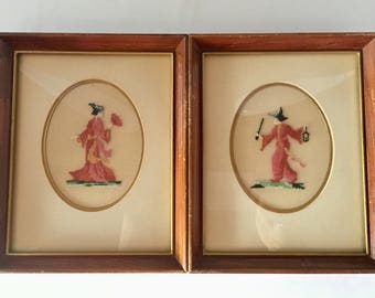 Pair of vintage framed needlepoint (petit point) pictures of Chinese man and woman