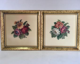 Circa 1970s - Pair of framed needlepoint (Petit Point) florals