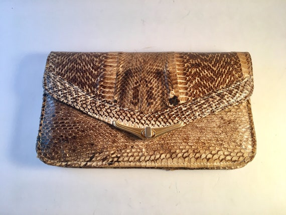 Cobra skin clutch purse / evening bag - Circa 1980