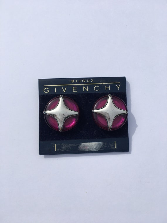 Vintage Givenchy purple and silver clip-on earring