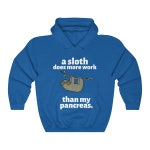 Dia-Be-Tees A Sloth does more Work than my Pancreas Unisex Heavy Blend Hooded Sweatshirt