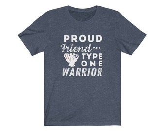 Dia-Be-Tees Proud Friend of a Type One Warrior Unisex Jersey Short Sleeve Tee