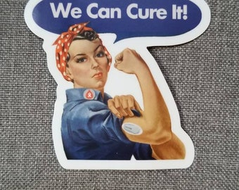 Dia-Be-Tees We can CURE it Sticker Rosie Riveter T1D