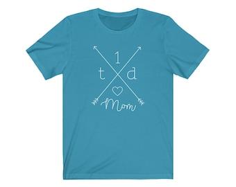 Dia-Be-Tees T1D Crossed Mom Unisex Jersey Short Sleeve Tee