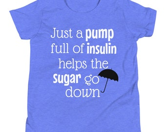 Dia-Be-Tees Just a Pump Full of Insulin Youth Short Sleeve T-Shirt