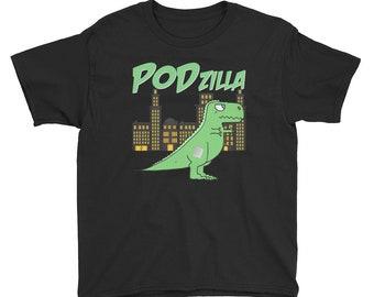 Dia-Be-Tees PODzilla Godzilla Omnipod Podder T1D Diabetes Anvil 990B Youth Lightweight Fashion T-Shirt with Tear Away Label