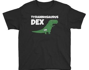 Dia-Be-Tees Tyrannosaurus Dex T Rex Dino T1D Dexcom Diabetes Youth Lightweight Fashion T-Shirt with Tear Away Label