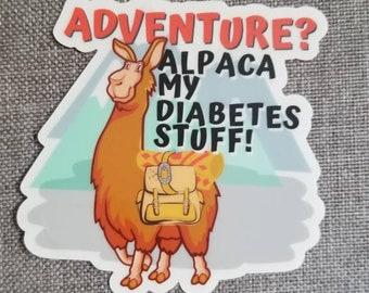 Dia-Be-Tees Adventure Alpaca CLEAR sticker
