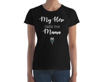 Dia-Be-Tees My Hero Calls Me Mama Diabetes T1D Women's short sleeve t-shirt