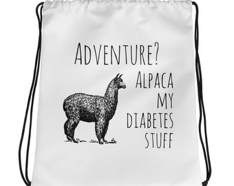 Dia-Be-Tees Alpaca Diabetes Stuff Drawstring bag