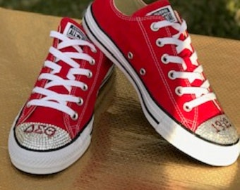 b1e73693abcf36 Bling Crystal Converse All Star Low Top In Red