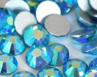 SS10 Aquamarine AB Glass Flatback Round Rhinestones 2294f961d5eb