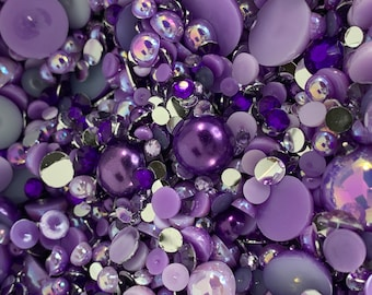 2-12mm 'Purple Reign' Pearls and Rhinestone Resin Mix