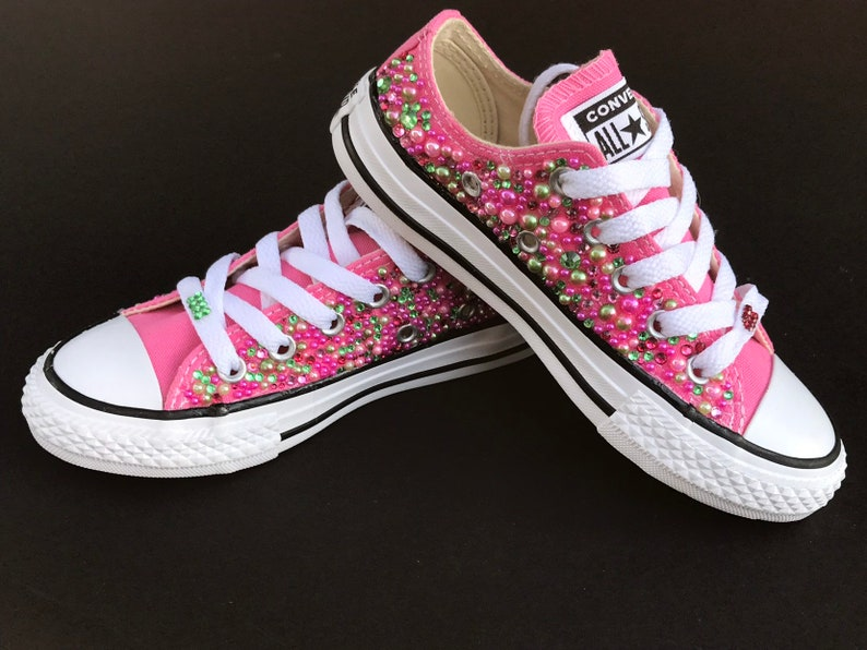 afaa26d849c828 AKA Bling Converse Pink and Green Converse Bling Shoes
