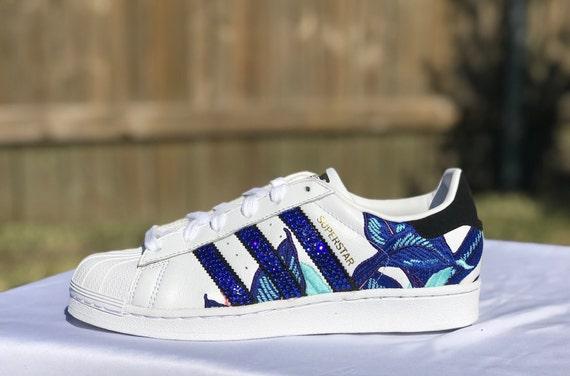 b54d0d59379e2 Adidas Bling, Women's Adidas Superstar Sneaker Blue and White