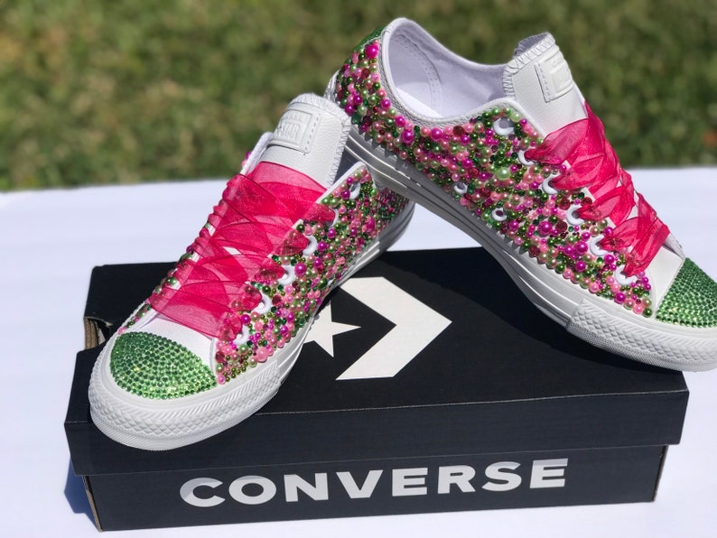 b48a36096f76 AKA Bling Converse Pink and Green Leather Converse Bling