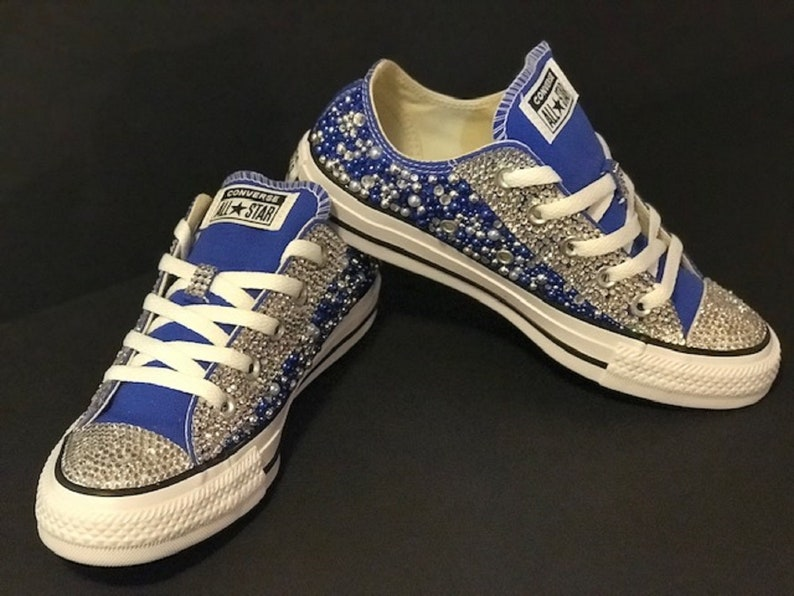 5d345cff6a84 Zeta Inspired Bling Converse Blue and White Converse Bling