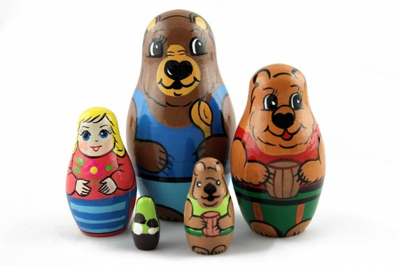 Matryoshka Russian Nesting Doll Wooden Babushka Goldilocks Three Bears 5 pcs