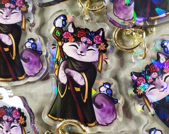 Druid Kitty Quest - RPG Themed Holo Acrylic Charm