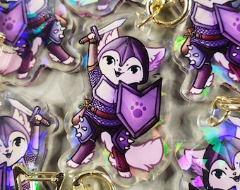 Fighter Kitty Quest - RPG Themed Holo Acrylic Charm
