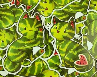 Feline Fruity Watermelon Cat - Sticker Duo