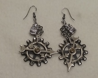 Steampunk Gears &  Owls Earrings