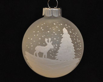 White Deer with Tree Hand Painted Holiday Ornament