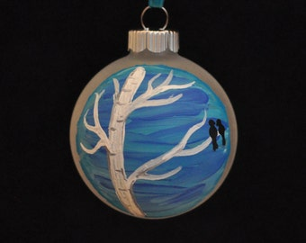 Lovebirds in Winter Hand Painted Holiday Ornament