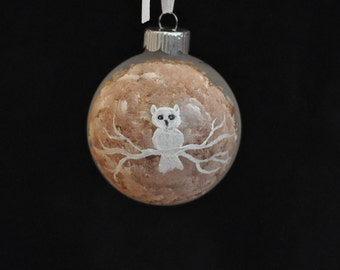 White Owl Hand Painted Holiday Ornament