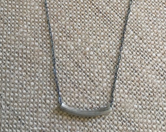 Handmade sterling silver necklace with a sterling silver tube bead