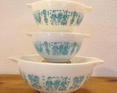 Vintage Pyrex Butterprint Cinderella Bowls 2 441 and 1 443