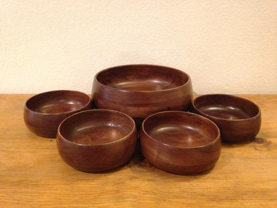 Vintage Wooden Salad Bowl Set Etsy