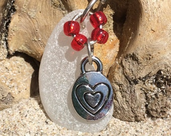 White Seaglass Necklace with Heart Charm & Red Glass Beads