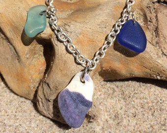 "Aqua Blue and Cobalt Blue Seaglass 18"" Necklace with Seashell"
