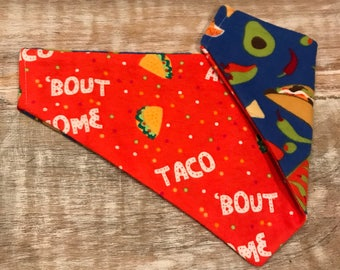 The Glenn- Taco Bout Awesome- reversible dog bandana- slip on dog bandana- tie on dog bandana- mexican dog bandana