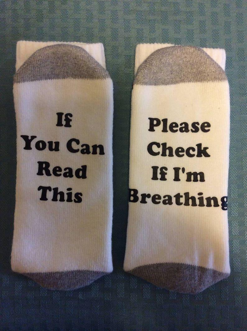 Funny men's socks with sayings on bottom image