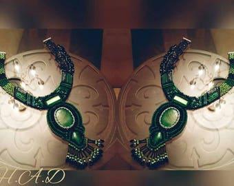 Handmade necklace with center gemstone (Malachite )
