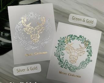 Geometric ReinDeer Embossing Christmas Greeting Card