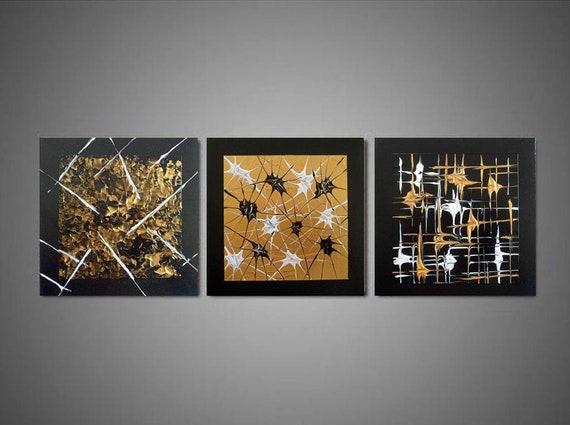 Décoration Murale Tableau Abstrait Noir Or Doré Peinture Abstraite Acrylique Tableau Triptyque Contemporain Idée De Cadeau De Noël