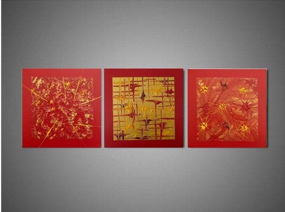 Décoration Murale Rouge Or Doré Triptyque Abstrait Peinture Abstraite Rouge Idée De Cadeau De Noël Déco