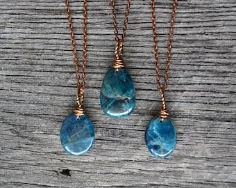 Apatite Necklace, Apatite Cabochon, Apatite Pendant, Blue Apatite, Apatite Charm