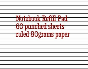 60 ruled punched pages refill for UpcycledMovies handmade notebook