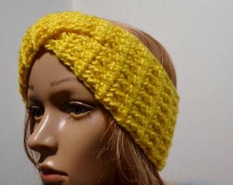 Twisted Crochet Headband, Ear Warmer, Crochet Turban, Women, Winter Accessories, Red, Purple, Yellow, Handmade, Crochet Ear Warmer, Warm